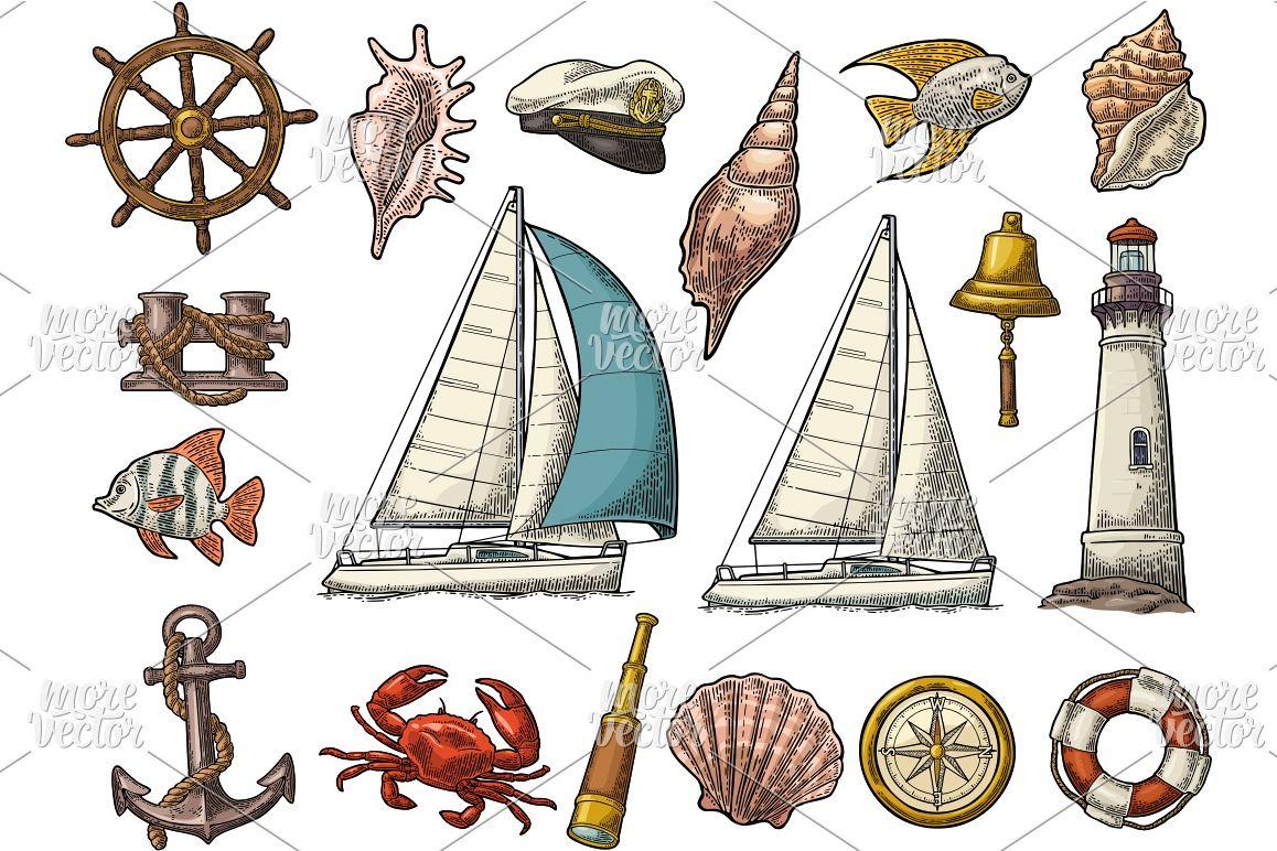 1158x772 Set Sea Yacht. Vector Color Vintage Engraving