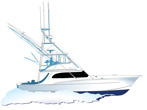 500x375 Sportfishing Yacht Vector Side Viewspirit Graphix Spirit Graphix