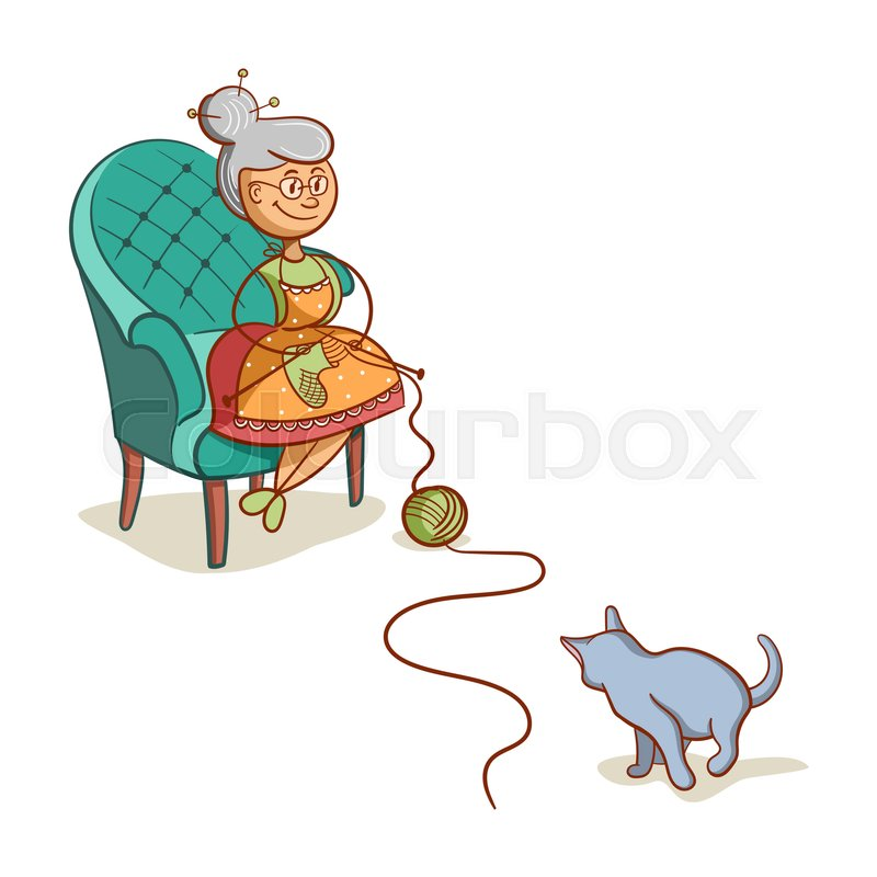 800x800 Cartoon Grandmother Sits On Armchair And Knits Socks. The Cat