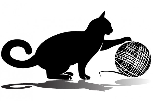 626x417 Black Cat Playing Ball Of Yarn Vector With Shadow Download Free