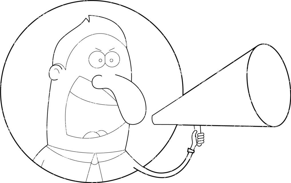 1017x640 Outline Boss Yelling Vector Illustration Graphicmama