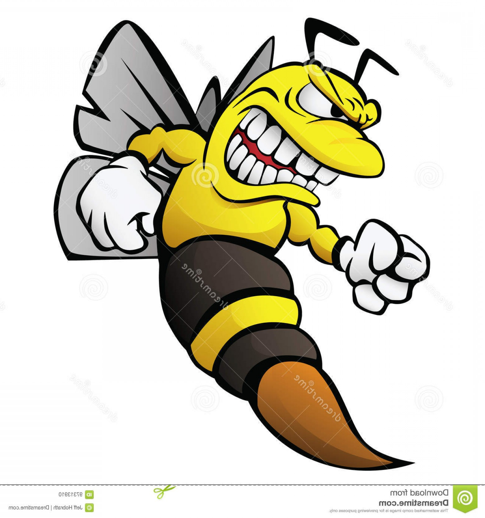 1560x1668 Stock Illustration Bee Cartoon Illustration Aggressive Funny Wasp