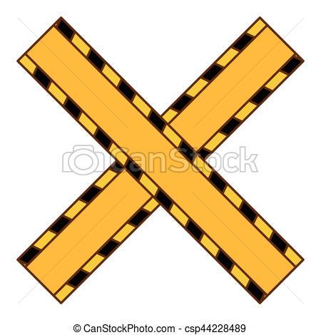 450x470 Do Not Cross Yellow Ribbon Icon, Vector Illustration.