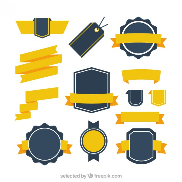 626x626 Retro Badges Collection With Yellow Ribbons Vector Free Download