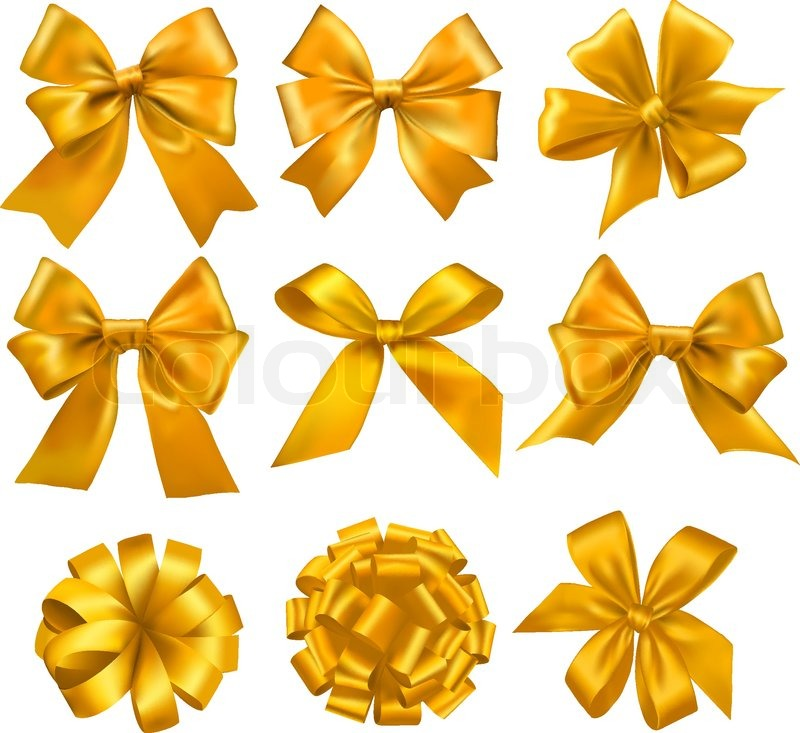 800x733 Big Set Of Yellow Gift Bows With Ribbons. Vector. Stock Vector