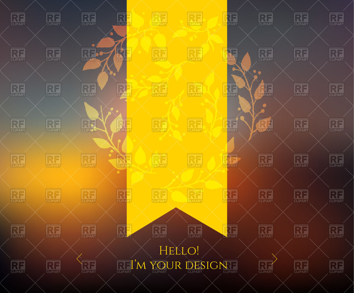 1200x994 Blurred Web Design Template With Yellow Ribbon Vector Image