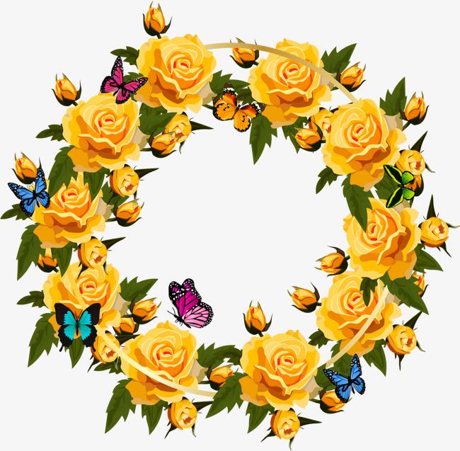 650x637 Romantic Yellow Rose Wreath, Rose Vector, Wreath Vector, Vector