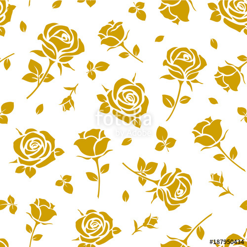 500x500 Seamless Pattern With Yellow Rose Silhouette On White Background