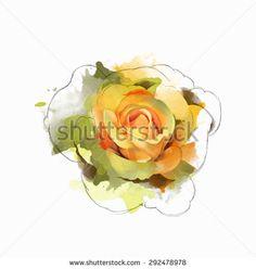 236x248 Watercolor Yellow Roses Vector