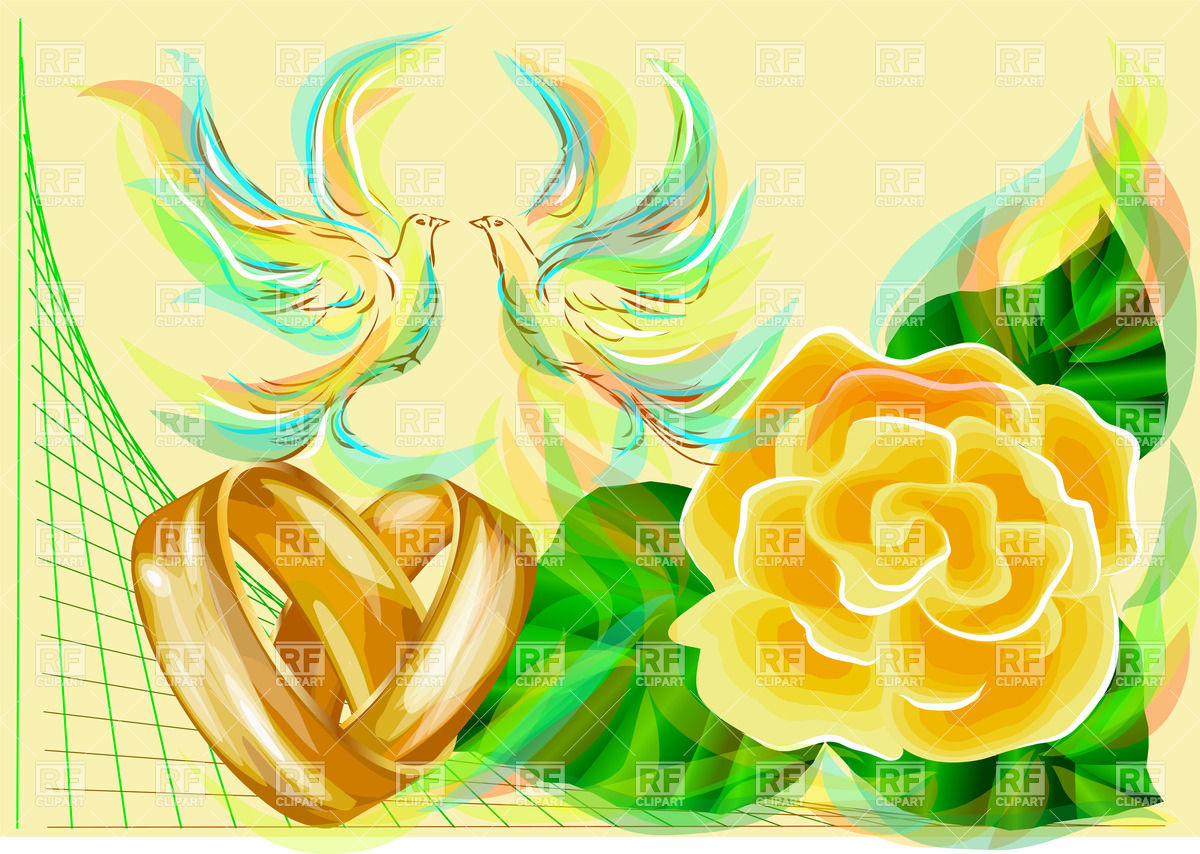 1200x854 Wedding Rings And Yellow Rose With Abstract Dove Vector Image