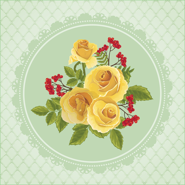 600x600 Yellow Rose Card With Ornate Background Vector Free Download