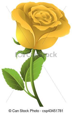 299x470 Yellow Rose On Green Stem Illustration.
