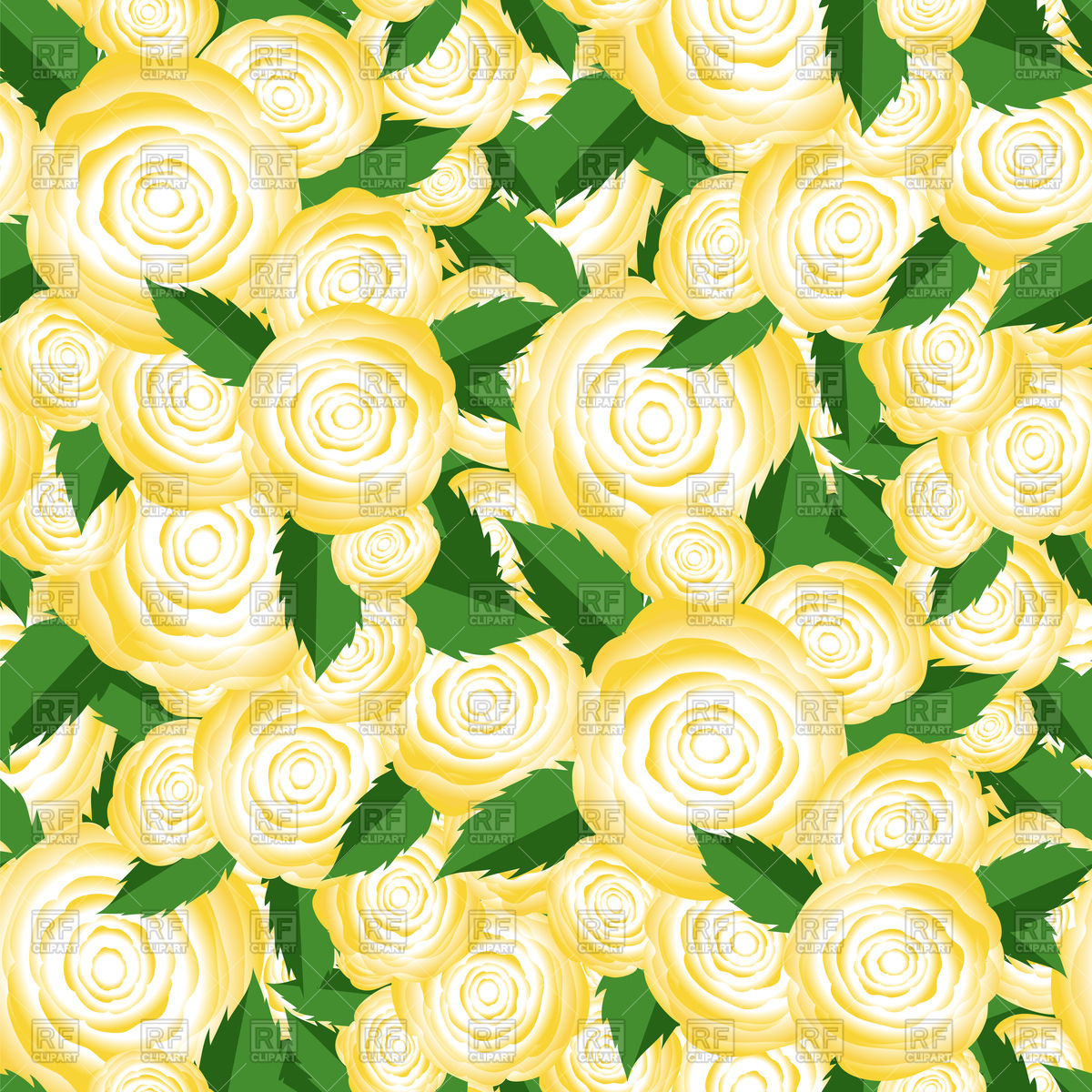 1200x1200 Bouquet Of Yellow Roses Random Seamless Pattern Vector Image