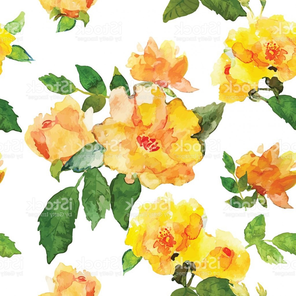 1228x1228 Floral Pattern With Yellow Roses Drawn Watercolor Gm Arenawp