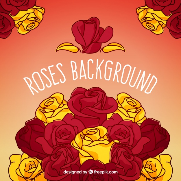 626x626 Hand Drawn Background With Red And Yellow Roses Vector Free Download