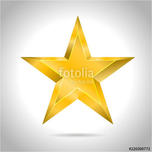500x500 Star Vector Realistic Metallic Golden Isolated Yellow 3d Stock
