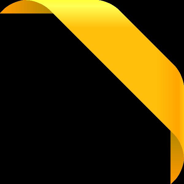 600x600 Corner Ribbon01 Yellow Vector Data Svg(Vector)public Domain