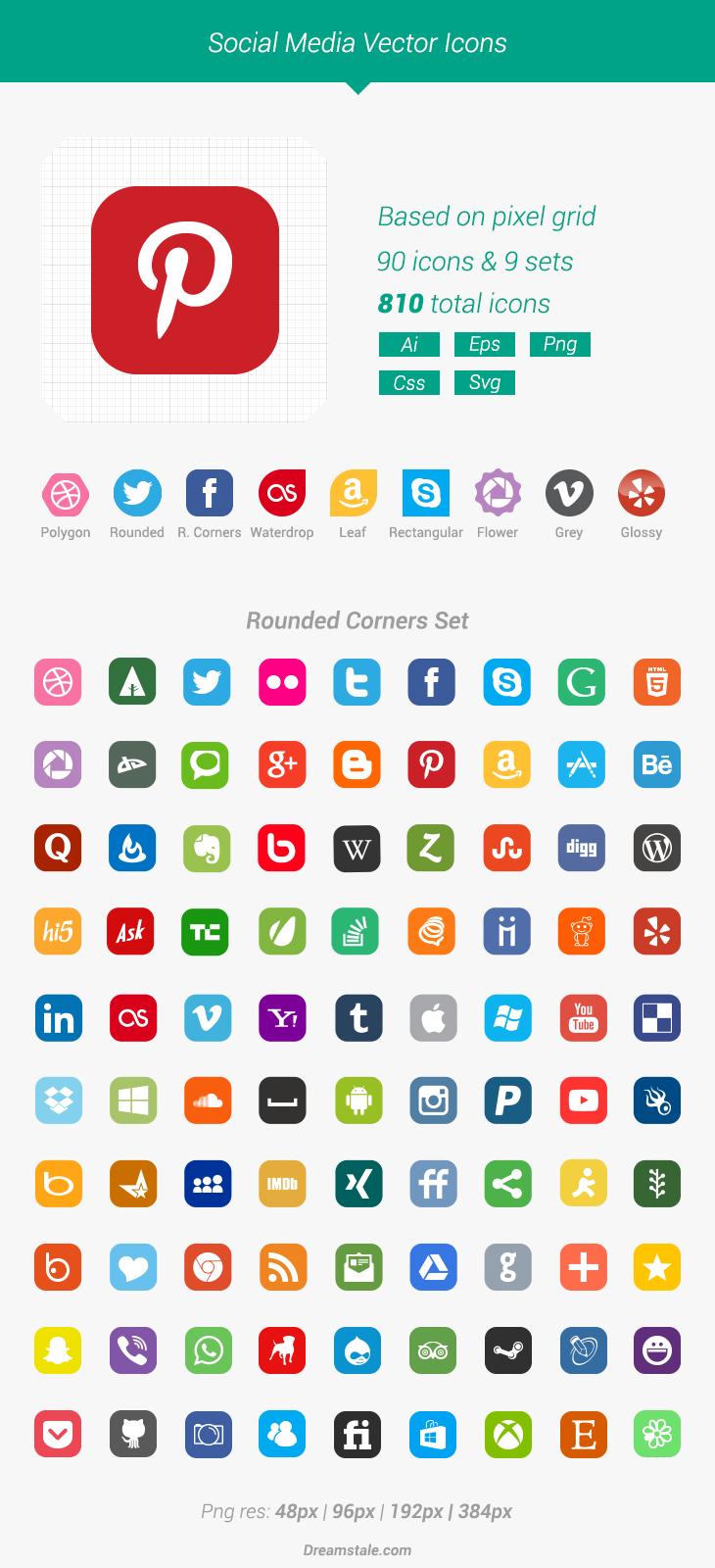 730x1600 Free Download 90 Vector Social Media Icons