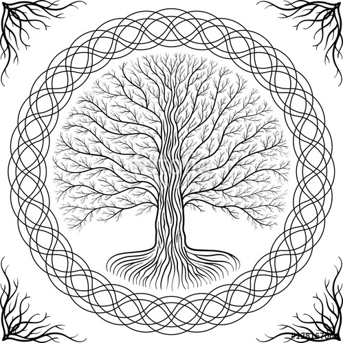 499x500 Druidic Yggdrasil Tree, Round Gothic Logo. Ancient Book Style