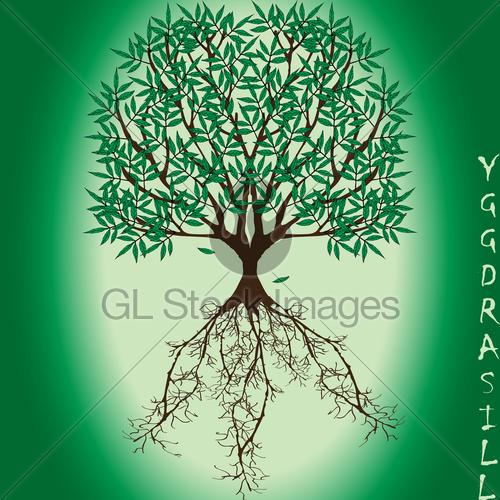500x500 Yggdrasil Vector World Tree From Scandinavian Mythology Gl