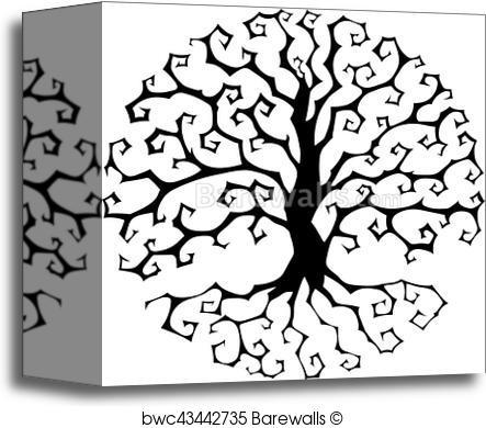 443x390 Canvas Print Of Druidic Yggdrasil Tree, Round Gothic Logo