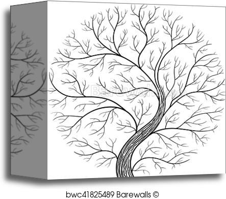 443x390 Canvas Print Of Round Silhouette, Yggdrasil Tree. Black And White
