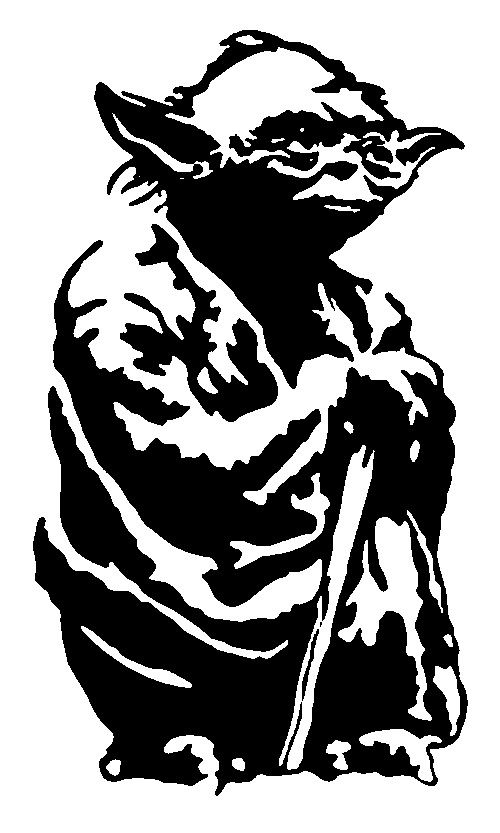 500x833 Yoda Png Black And White Transparent Yoda Black And White.png