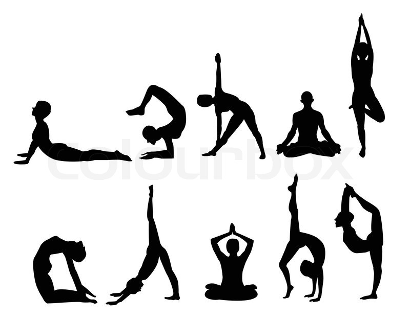 800x626 Yoga Pose Silhouettes, In Various Poses. Vector Format. Stock