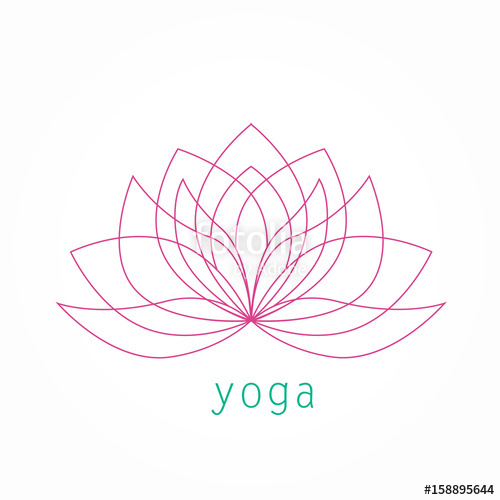 500x500 Lotus Flower Thin Line Icon Logo Vector. Yoga Symbol Linear Art