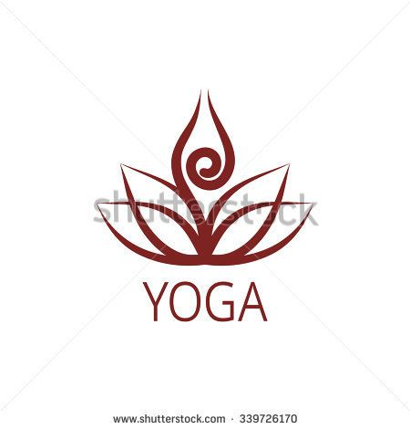 450x470 Stylized Human Yoga Shape In Abstract Lotus Symbol. Vector Icon