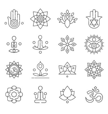 380x400 Yoga Icons And Line Badges Graphic Design Vector Website