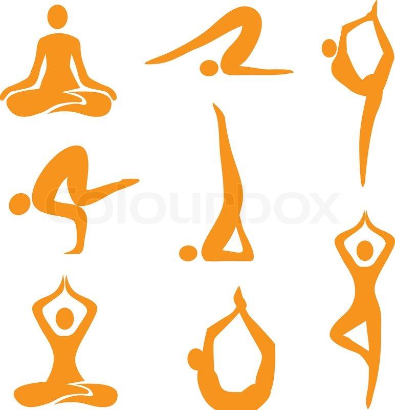 772x800 Yoga Positions Icons Stock Vector Colourbox