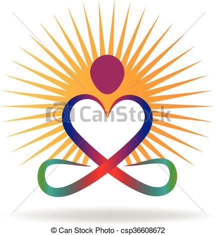 433x470 Logo Yoga Love Shape With Sun Symbol Vector Icon.
