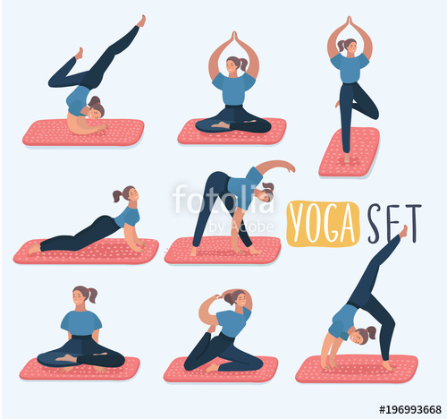 500x468 Set With Beautiful Woman In Various Poses Of Yoga. Vector Set Of