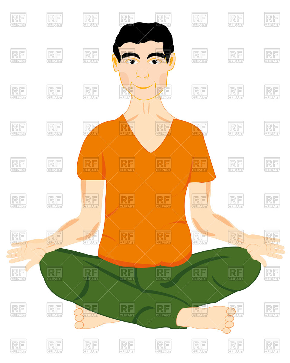960x1200 The Young Man Sits In Pose Yoga Vector Image Vector Artwork Of