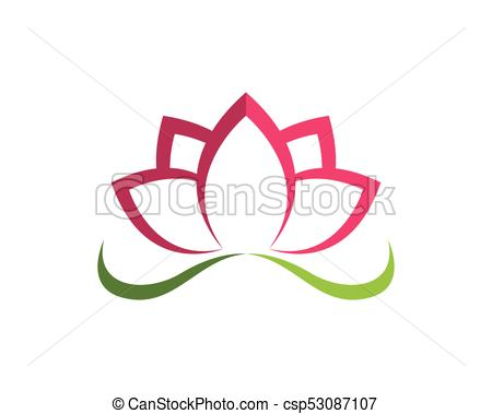 450x379 Lotus Flower Sign For Wellness, Spa And Yoga. Vector Illustration.