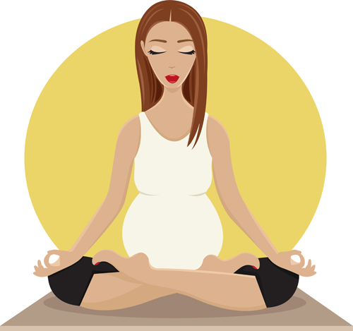 500x469 Pregnant Girl Doing Yoga Vector 03 Free Download