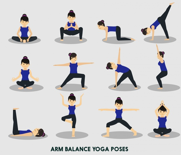 600x513 Yoga Vector Illustration With Various Arm Balance Positions Free
