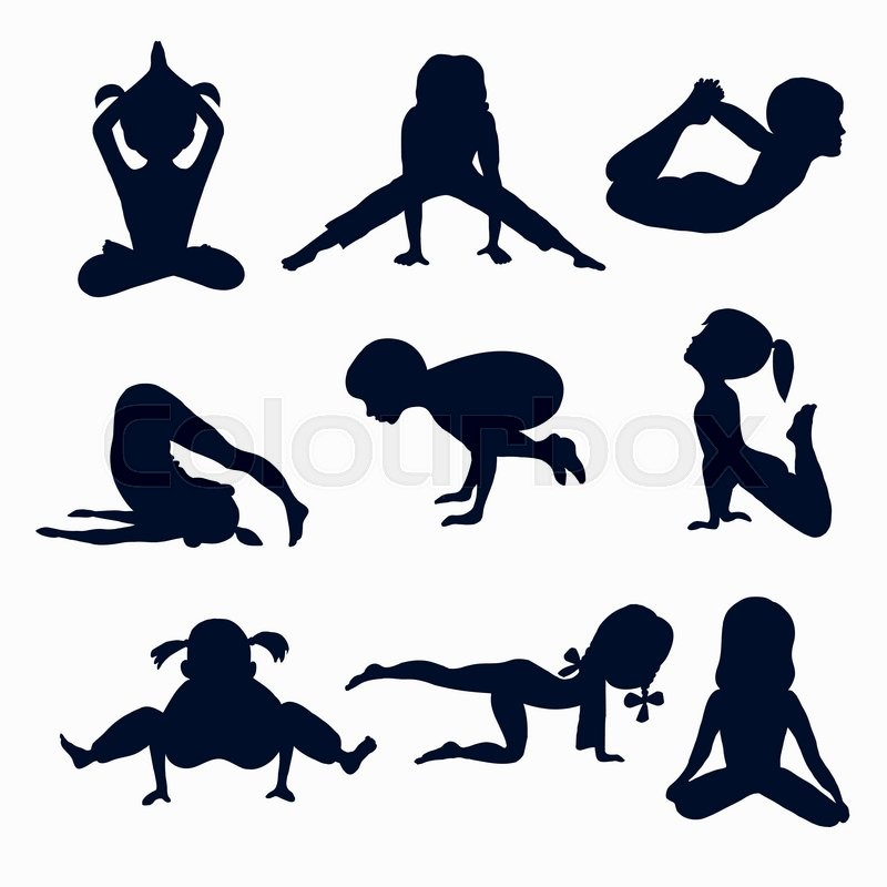 800x800 Set Of 9 Icons, Children 12 Years Of Age In Various Yoga Poses