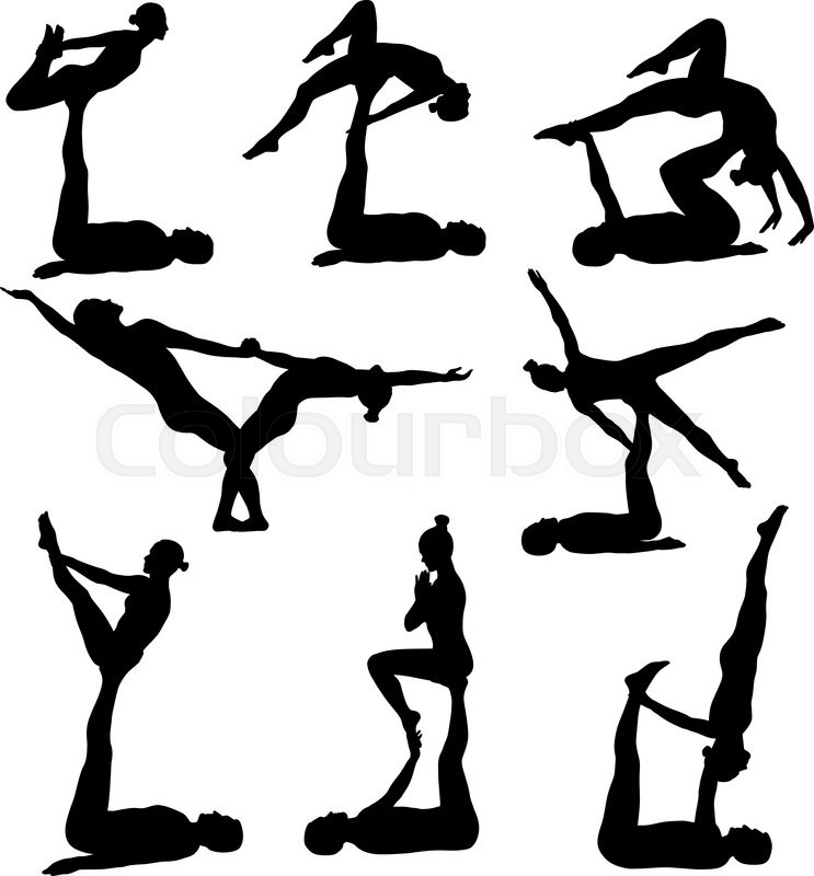 743x800 Silhouettes Of Man And Woman Doing Acrobatic Yoga Stock Vector