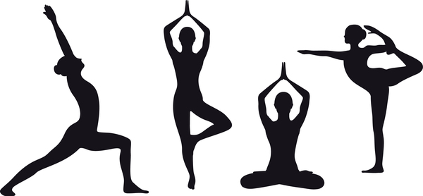 600x278 Yoga Pose Black Silhouette Vector 03