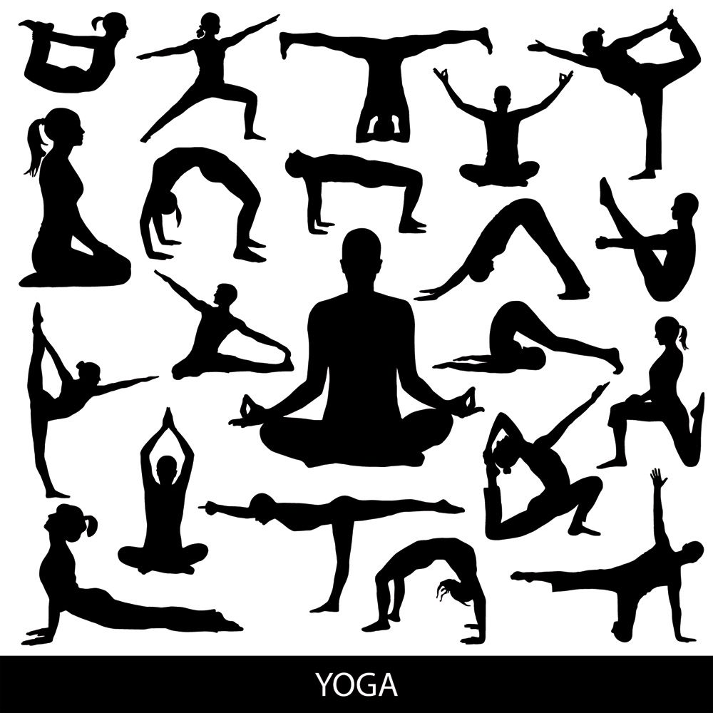 1000x1000 Free Download Vector Yoga Silhouette Poses.
