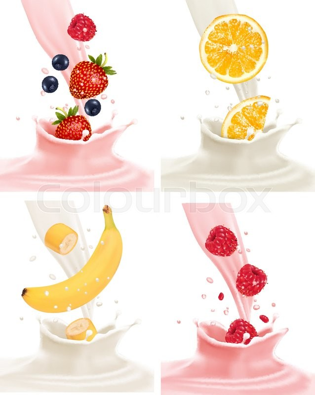 638x800 Four Different Labels With Fruit Falling Into Milk And Yogurt
