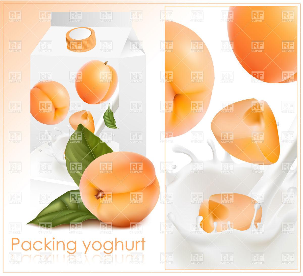1200x1094 Packing Design For Apricot Yogurt Vector Image Vector Artwork Of