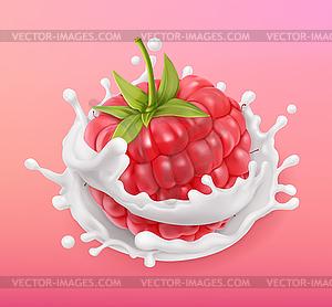 300x278 Raspberry And Milk Splash. Fruit And Yogurt.