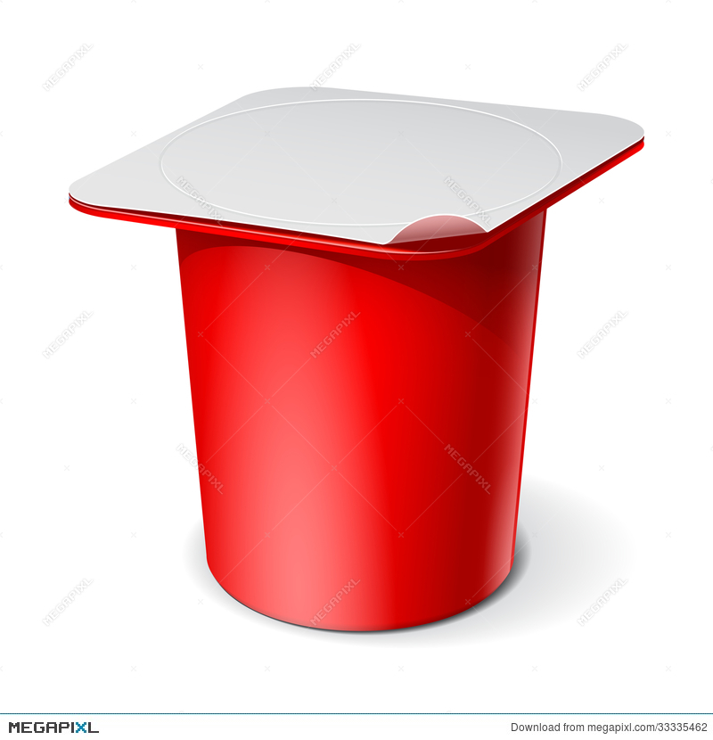 800x830 Red Realistic Plastic Container For Yogurt. Vector Illustration