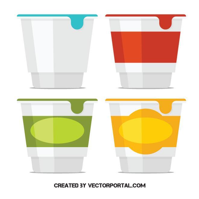 660x660 Yogurt Containers Vector Image