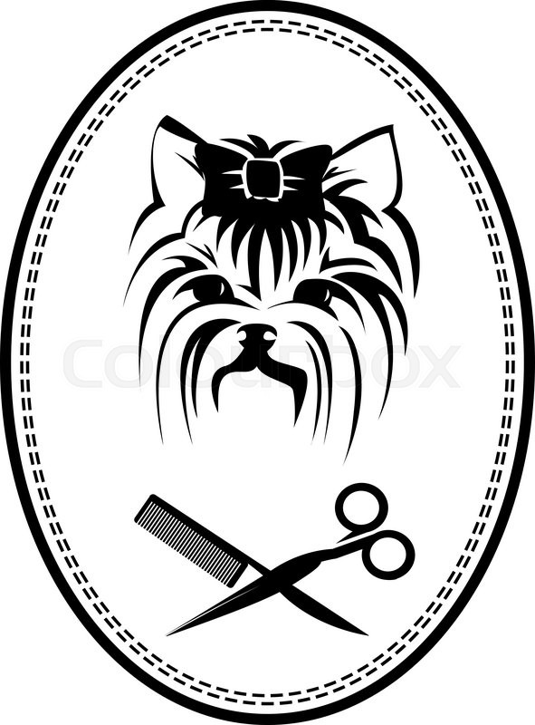 591x800 Pet Grooming Logo With Yorkshire Terrier Dog, Hairbrush And
