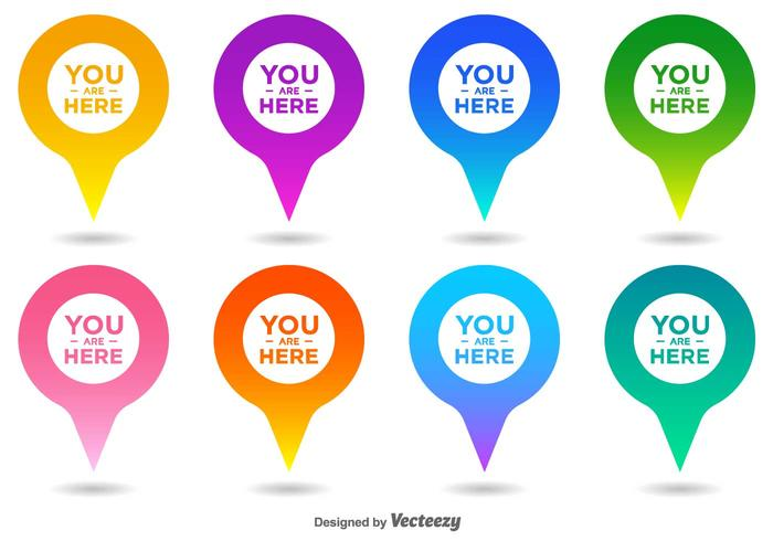 700x490 Vector You Are Here Map Pointer Icon Set