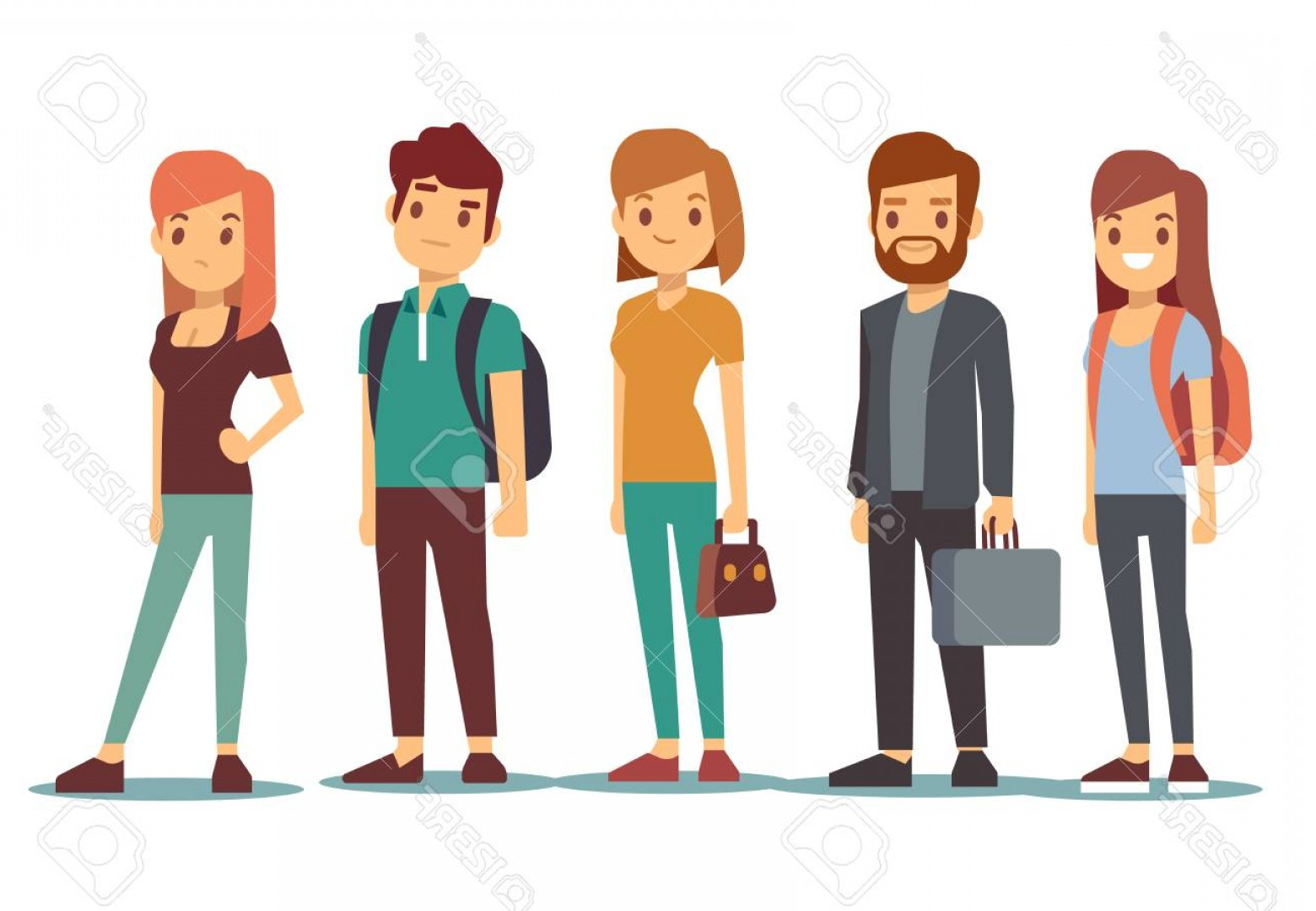 1560x1080 Photostock Vector Queue Of Young People Waiting Women And Men